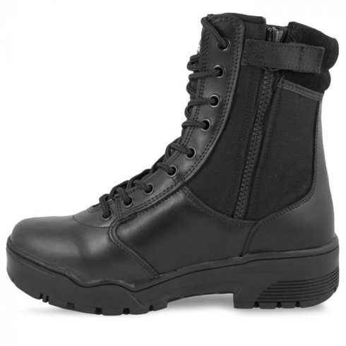 MIL-TEC leather/cordura tactical boots w. zip fekete