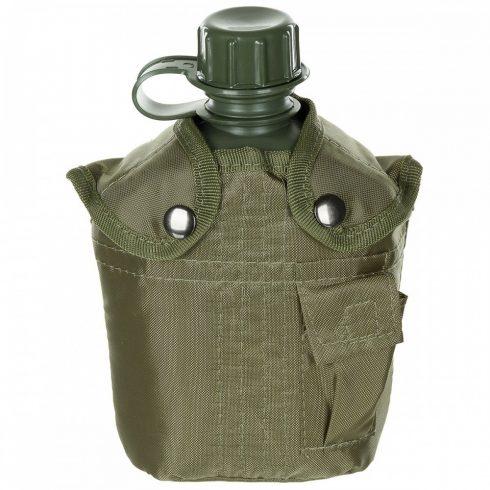 US Plastic Canteen, 1 l, cover, black, BPA free - kulacs, övtokkal