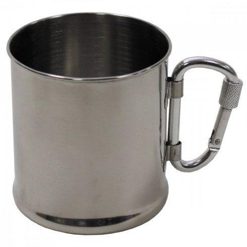 Cup, Stainless Steel, carabiner, single-walled, ca. 220 ml - fém bögre