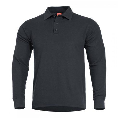 Pentagon ANIKETOS galléros hosszú ujjú póló - Fekete